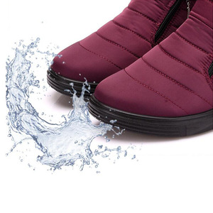 Image 5 - Зимние ботинки; Женские водонепроницаемые ботильоны; Зимние теплые ботинки с искусственным мехом; Повседневная женская обувь на плоской подошве; Botas Mujer Invierno