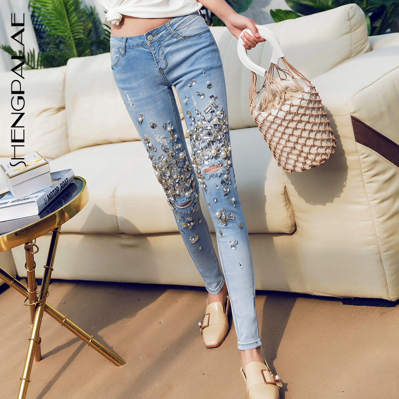 SHENGPALAE 2019  Autumn Hollow Out Denim Skinny Pants High Waist Split Joint Pearl Diamonds 25-30 Size Women Pencil Jeans FT426
