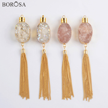 BOROSA Gold Plating Natural Agates Druzy Long Tassels Pendant Necklace Rose Crystal Quartz Necklace Charms for Women G1981 n091808 18 29 7 strands pearl necklace quartz druzy pendant