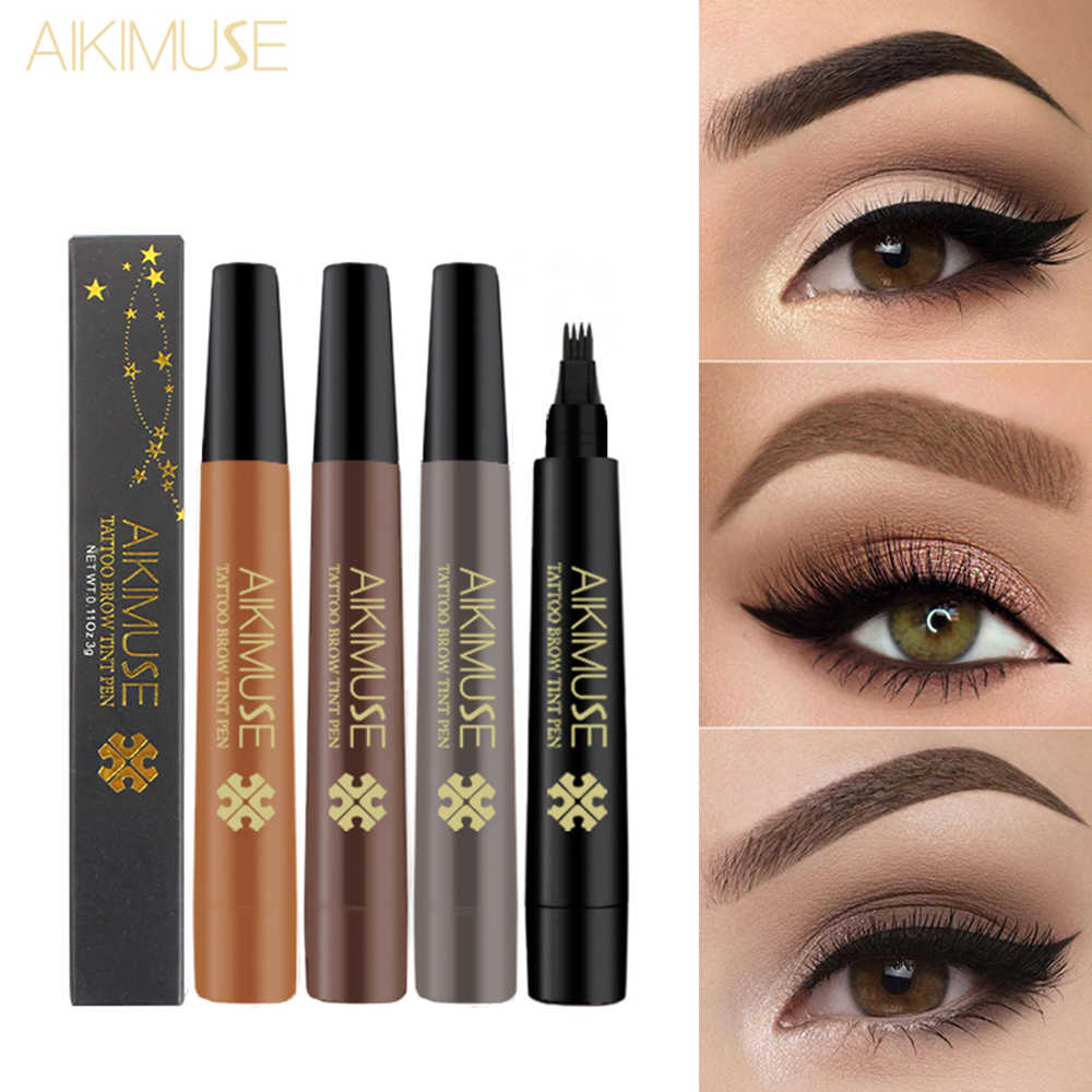 4 Fork Tip Liquid Eyebrow Pen Waterproof Tattoo Eye Brow Pencil Professional Fine Eyebrow Enhancer Dye Tint makeup 2018 TSLM2