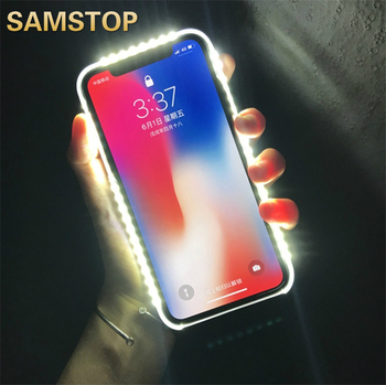 Luxury LED Light Up Selfie Shockproof Case for iPhone 11 11 Pro 7 8 Plus Light Up selfie flash phone Case For iPhone 6 6S