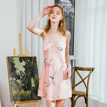 Chinese style New dress Shoulder strap skirt Sexy Crane print  Women Satin Summer Sleepwear Nightdress