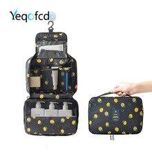 купить Yeqofcd Oxford Wash Bag Women Hand Held Cosmetic Bags Cases Large Capacity Hanging Folding Package Travel Organizer Waterproof дешево