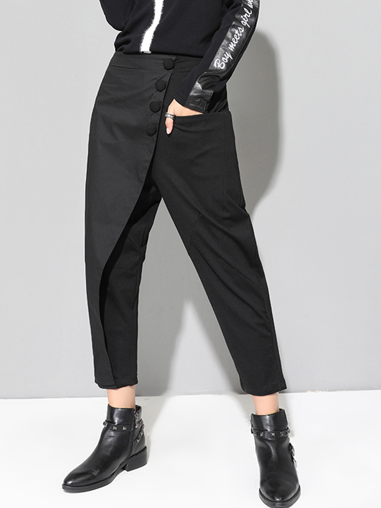 XITAO Trouser Harem-Pants Waist-Button Patchwork Black Female Long Casual Women Elastic
