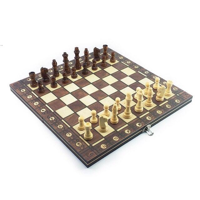 Super échiquier  magnétique en bois échecs 3 en 1 ! 3