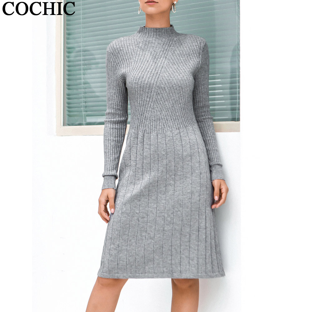Autumn Winter Bottoming Warm Knitted Dress Solid Color Half Turtleneck Mid-long Sweater Dresses Knit Dress