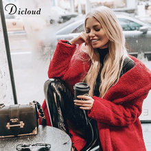 DICLOUD Casual Turn-down Collar Teddy Jacket Women Autumn Winter Warm Fluffy Coat Oversize Outwear Fashion Female Clothing(China)