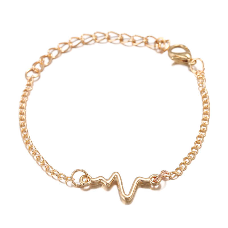2019 Wholesale Korean Fashion Simple Waves ECG Heart Rate Lightning Charm Bracelets For Women & Men Jewelry Summer Style Beach