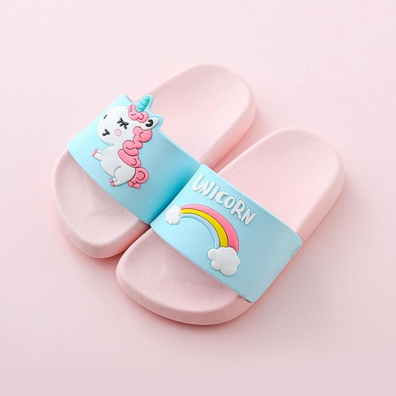 Suihyung Unicorn Slippers Boy Girl Summer Kids Rainbow Shoes Non-slip Beach Sandals Toddler Indoor Bathroom Slippers Flip Flops
