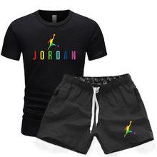 2021 marca de verão algodão camiseta masculina + calções esportivos conjunto jordan-23 verão de alta qualidade algodão camiseta esportes correndo conjunto
