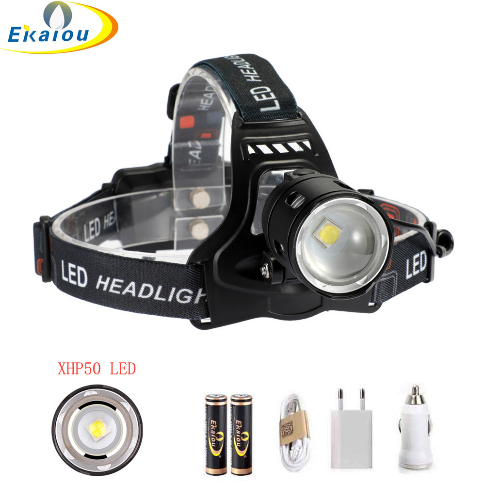 Super Bright Led headlamp XHP50 Headlight High lumens USB Rechargeable Powerful Head Light Zoom Head Torch Head Light 1
