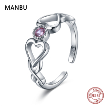 MANBU 925 Sterling Silver love always Open Rings with 2 Heart and Purple zircon ring fashion wedding jewelry for women gifts new leige jewelry heart cut amethyst rings unique wedding ring february birthstone ring purple gems ring 925 sterling silver gifts