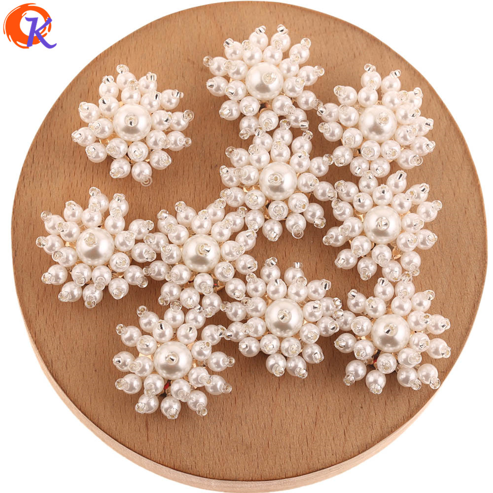 Cordial Design 40Pcs 25*25MM Jewelry Accessories/Hand Made/Seed Bead Charms/Imitation Pearl/Earring Findings/DIY Jewelry Making