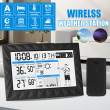 AUGIENB AUG-8638 LCD Large Screen Weather Station Outdoor Indoor Thermometer Hygrometer Temperature Calendar Snooze Alarm Clock