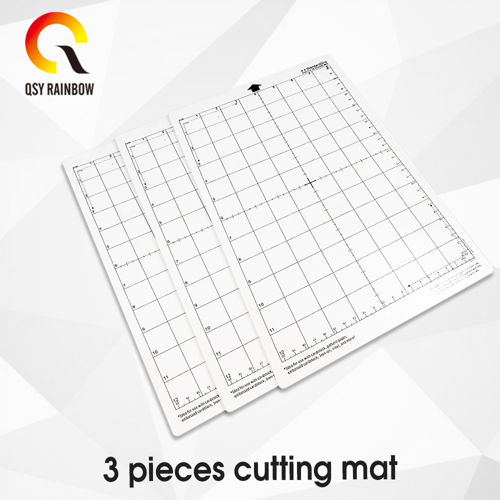 3pcs  Cutting Mat Adhesive Mat With Measuring Grid 8 By 12-Inch For Silhouette Cameo Cricut Explore Plotter Machine Cutting Mat