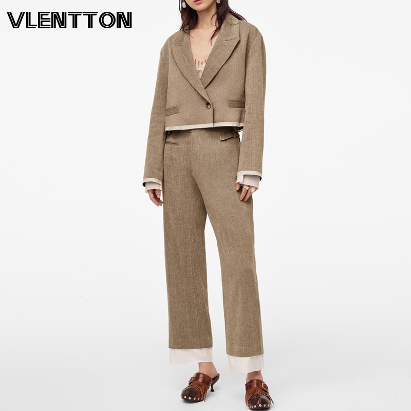 2020 Spring Autumn Vintage Splice Two Piece Set Women Loose Short Office Blazer Jacket Coat+High Waist Zipper Pants Suit Female