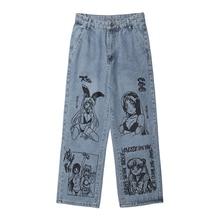 Harajuku Sailor Moon Pattern Print Jeans Men Hip Hop Loose Wide Leg Male Pants Casual Pantalon Homme Oversized Streetwear New