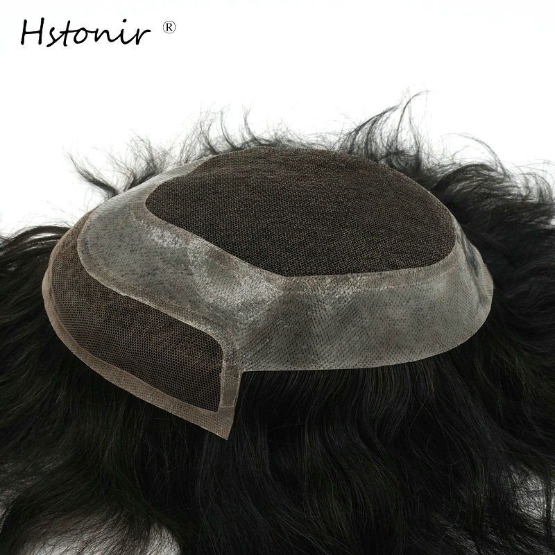 Hstonir Men Toupee Hairpiece Swiss Lace And PU Hair Replacement Remy Hair Natural Looking H040