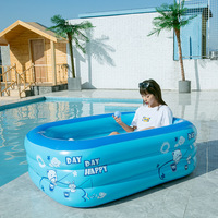 150CM Summer Children Bathing Tub Baby Home Use Paddling Pool Inflatable Square Swimming Pool Kids Comfortable Pool Ocean Ball