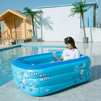 PVC Summer Children Bathing Tub Baby Home Use Paddling Pool Inflatable Square Swimming Pool Kids Comfortable Pool Ocean Ball