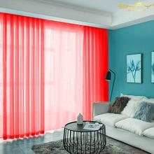 Living Room Curtains 29x108 Inch Red Side Door Curtain Panels Tulle Curtains Backdrop Solid Color Chiffon Curtain-M1007
