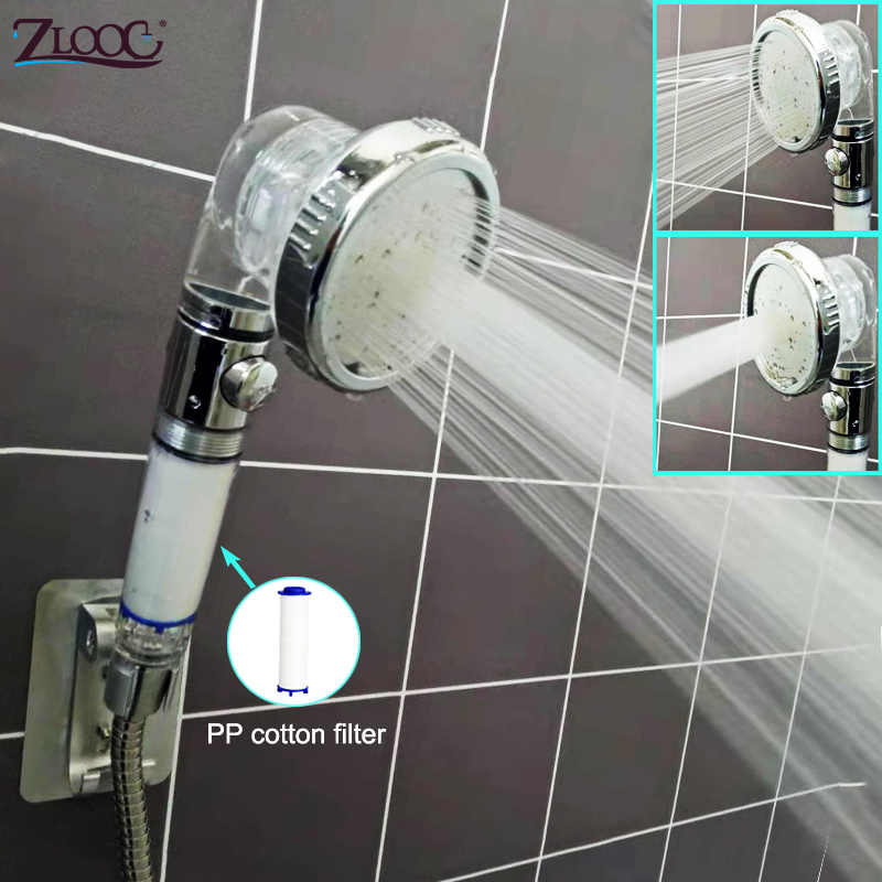 3 Modes Bath Shower Head High Pressure Handheld PP Cotton Filter Shower Stop Switch Button Adjustable Bathroom Showerheads