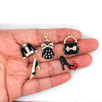 5pcs/set Fashion Black tuxedo skirt High heels handbag Enamel clothing imitation pearl bag Charms XL472 image