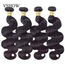 VSHOW brezilyalı vücut dalga İnsan saç paketler 1 3 4 demetleri anlaşma doğal renk 100% Remy insan saçı postiş siyah kadınlar için
