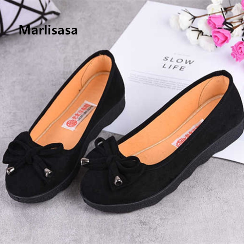 Marlisasa Women Cute Sweet Black Cloth Dance Shoes Ladies Casual Bow Tie Comfortable Ballet Flat Shoes Zapatos De Mujer F5709