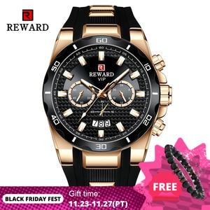 REWARD-Reloj de Dial grande para hombre, cronógrafo de silicona, relojes deportivos de cuarzo, resistente al agua, Masculino