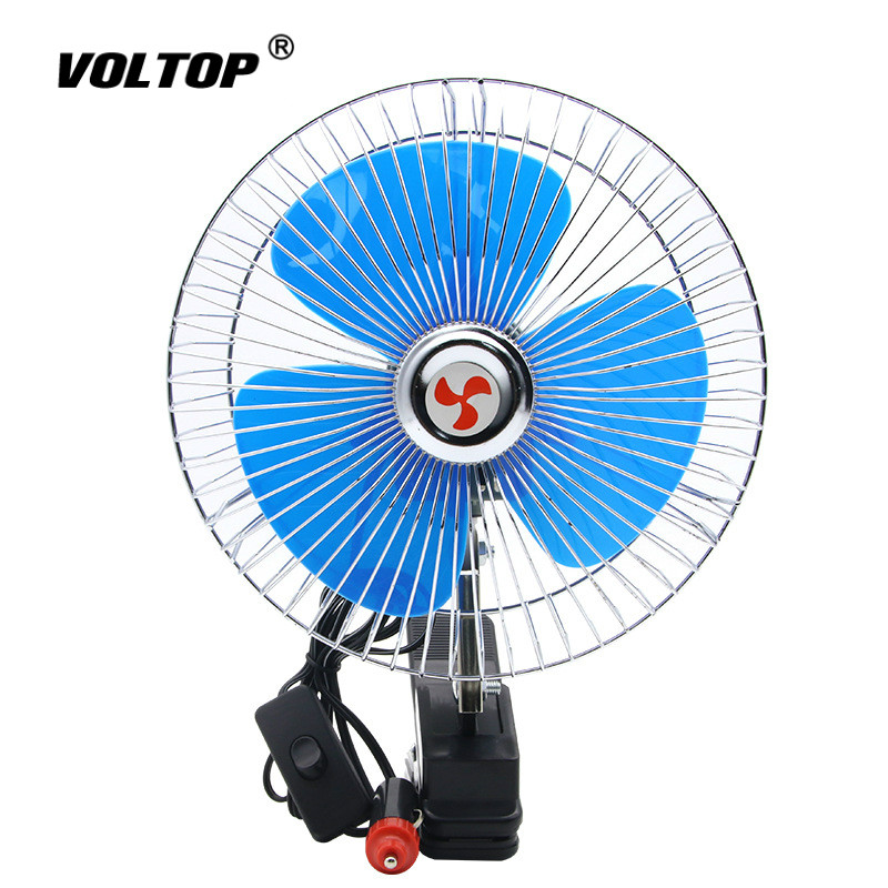 12V 24V 360 Degre 8 inch Adjustable Car Auto Air Cooling Dual Head Fan Low Noise Car Auto Cooler Air Fan Car Fan Accessories