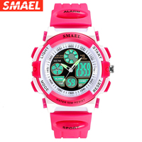 SMAEL Children Watches for Girls Digital LCD Digital Watches Children 50M Waterproof Wristwatches Student Watches Girls