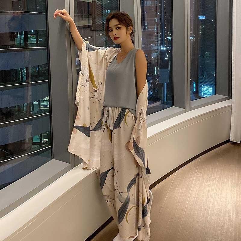 Conjunto de pijama de 4 piezas con estampado para mujer, ropa de otoño, viscosa, Floral, rosa, de noche, novedad