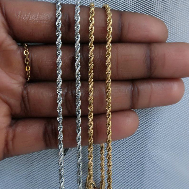 2020 Fashion Rope Chain Necklace Men Temperament 3mm Width Stainless Steel Chain Necklace For Men Jewelry Gift 3