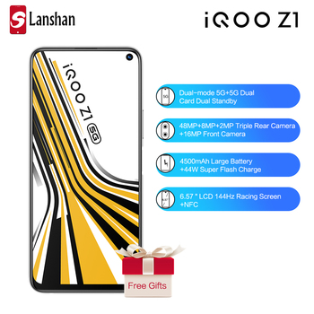 In Stock vivo IQOO Z1 Dual Mode 5G Mobile Phone 4500mAh Big Battery 44W Flash Charge 6GB 128GB Fingerprint Face ID Celular