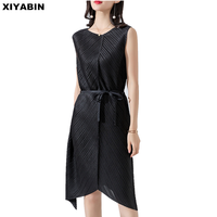 Women's wear Issey fold Dress Frenulum Waist collection Skinny black Long style Irregularity Pleated Dress