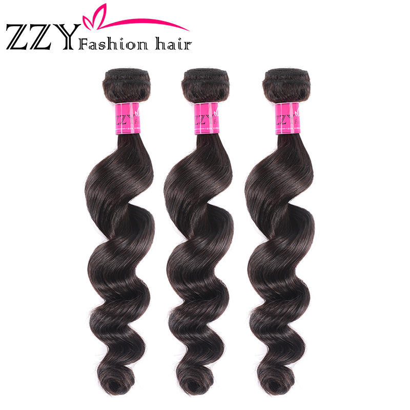 ZZY Fashion Hair Loose Deep Wave Peruvian Hair Bundles Human Hair Extensions Natural Color Non-remy Hair Weave 3 Bundles Weft