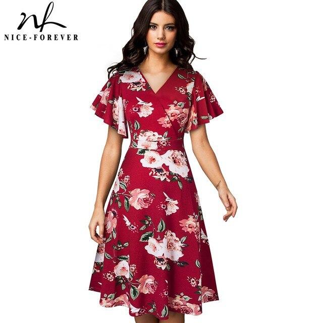 Nice robe florale élégante, avec manches à volants, ligne a daffaires, évasé pour femmes, A193, printemps