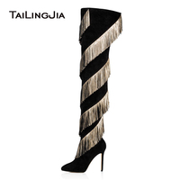 Fringe Thigh High Boots Black 2019 Winter Shoes Woman Over Knee Long Boots Tassel Women High Heel Ladies Pointed Boot Fashion