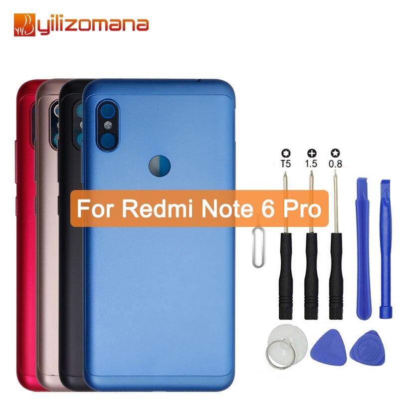 Yilizomana original substituição da bateria de volta capa para xiaomi redmi nota 6 pro telefone caixas da porta traseira caso duro livre ferramentas