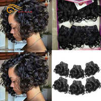 Rizado rizado extensiones de cabello humano 100% extensiones de cabello humano brasileño extensiones de pelo ondulado 6 unids/lote Color 1B/2/4/30/33/99J Pelo Rizado