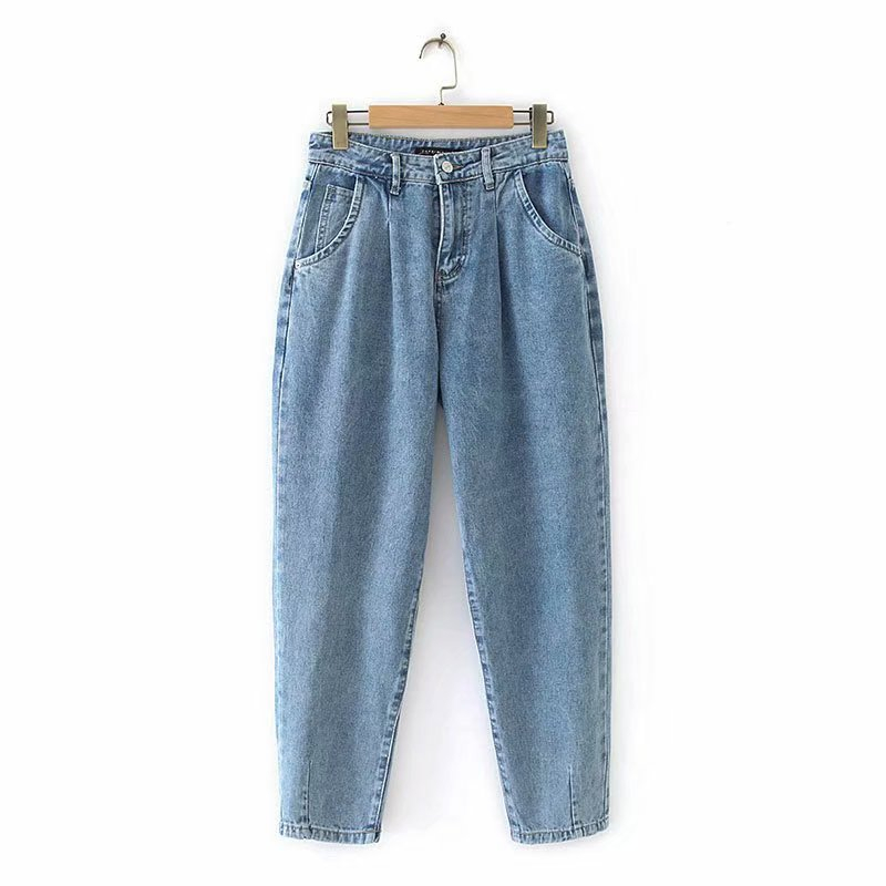 Europe And America WOMEN'S Dress 2019 Spring And Autumn New Style Foot Mouth Pleated Loose-Fit Jeans Women's B0102