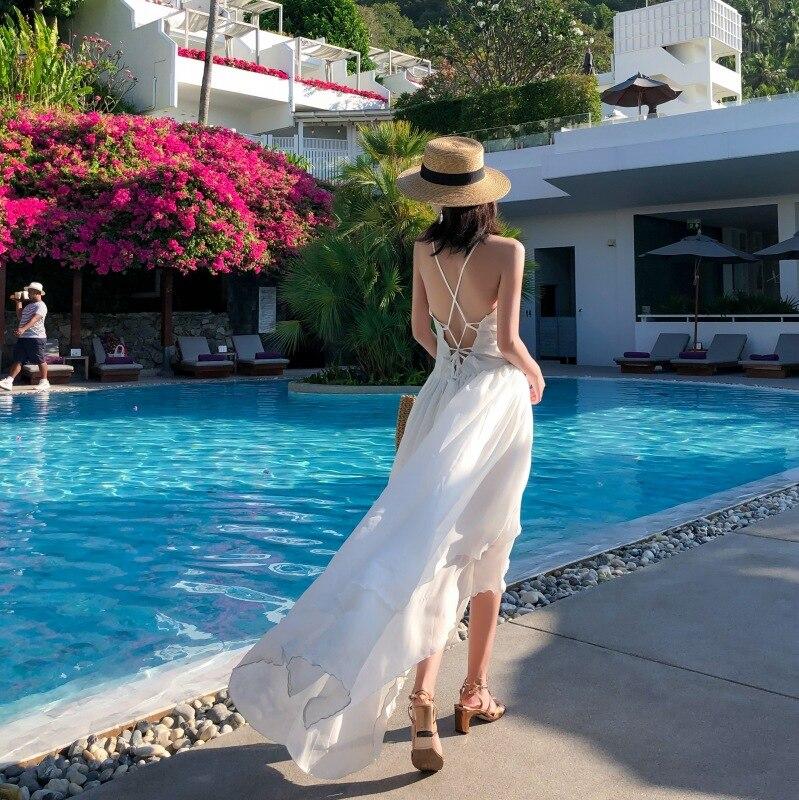 2019 New Style Yamamoto French Retro Fairy Holiday Skirt Irregular Dovetail Skirt Cross Backless Bordelle Angela
