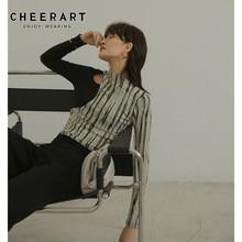 CHEERART Designer T Shirt For Women Sexy Hollow-Out Ladies Patchwork Long Sleeve Tee Femme Top Underwear