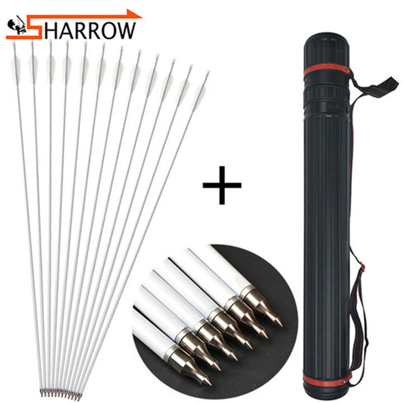 SHARROW 12pcs Archery Carbon Arrows 31 inch Target Practice Arrows 700 Spine Fletching 3 Turkey Feathers with Arrow Quiver for Compound Recurve Bow