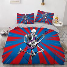 Simple Bedding Sets 3D Rock Skull Duvet Quilt Cover Set Comforter Bed Linen Pillowcase King Queen Full Double Home Texitle(China)