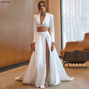 Vestido de noiva 2020 satinado de manga larga 2 piezas de playa vestidos de boda Sexy de lado alto dividido sin espalda vestido de novia de barrido de tren