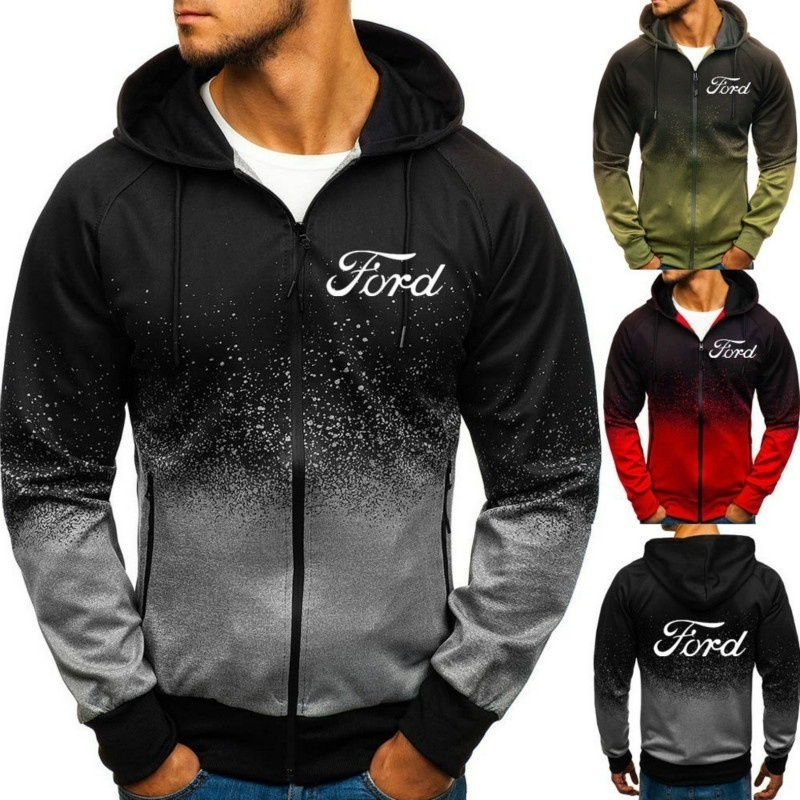 Ford Logo Hoodies Zipper Autumn Winter Pullover Cotton FORD 3D Gradient Sweatshirt Men Clothing Harajuku Jackets Coats
