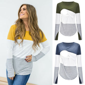 Casual Striped Long Sleeve Maternity Tops - Breastfeeding Tops