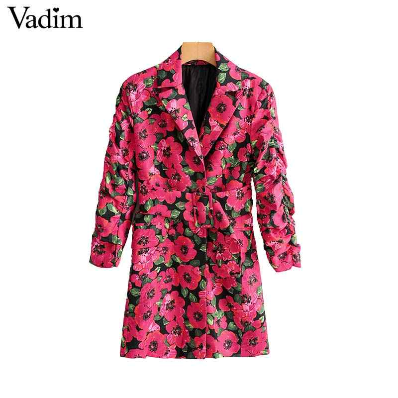Vadim women floral print blazer single button pockets sashes design female office wear jacket ladies outerwear coat tops CA526